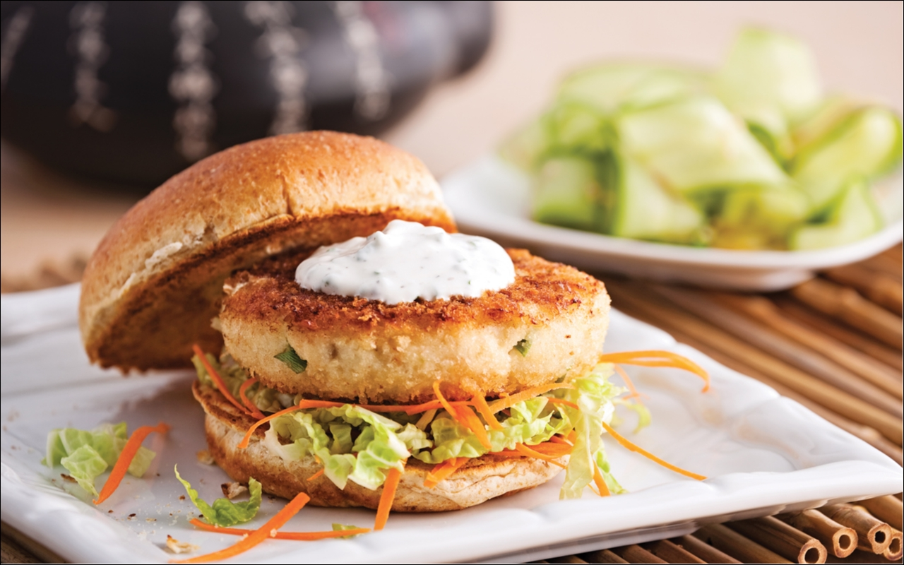 Asian fish and shrimp burger