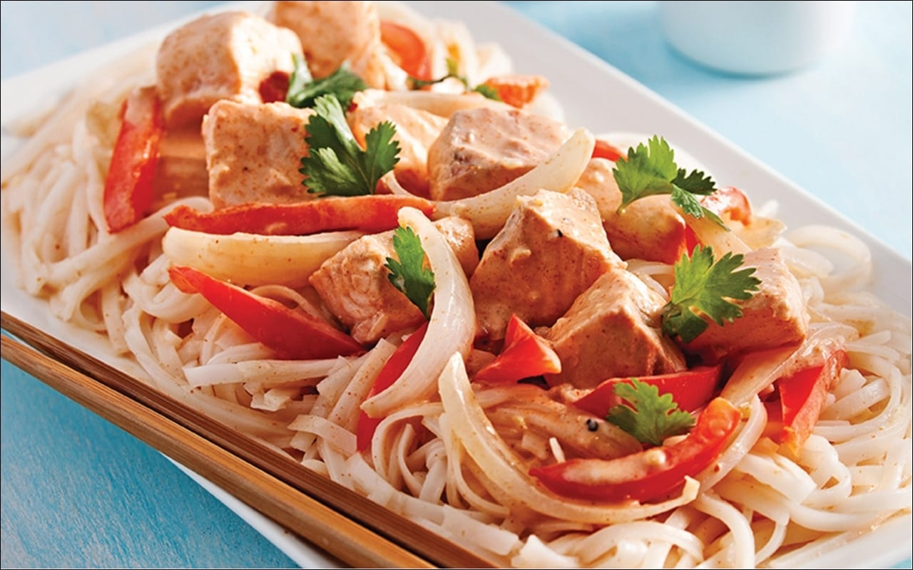 Thai Salmon Curry on Rice Noodles
