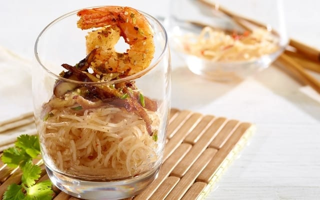 Thai shrimps in glass