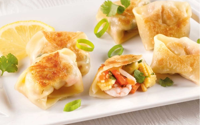 Vegetable and shrimp dumplings