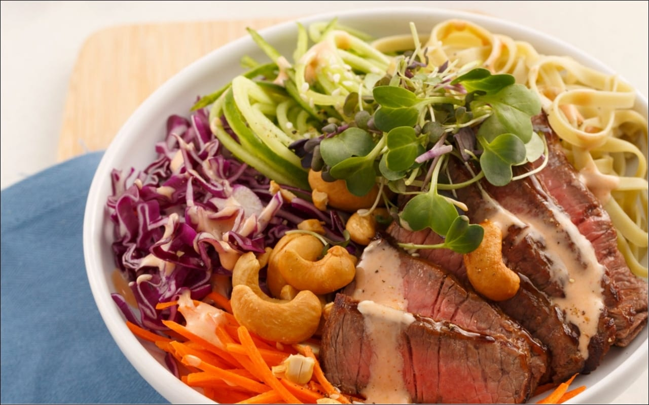 Beef and cashew poke bowl