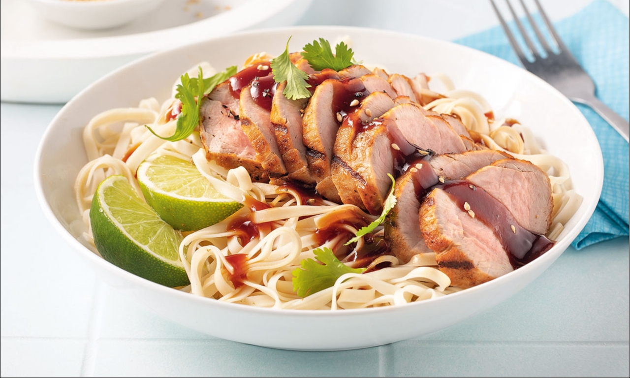 Sweet and Spicy Pork Tenderloin on Asian noodles