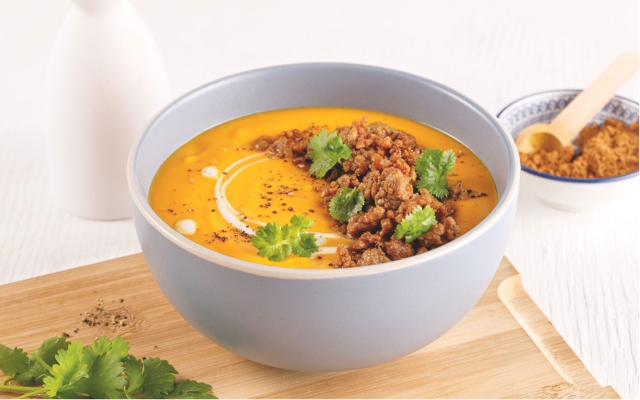 Thai Squash Soup with fragrant pork toppings