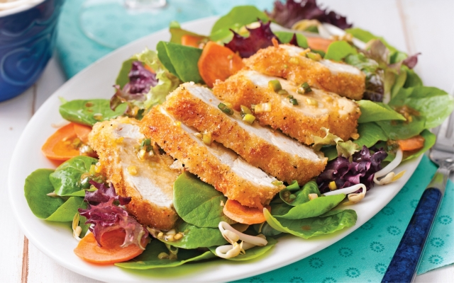 Chicken salad coconut-panko, wasabi vinaigrette