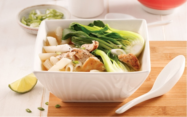 Chinese soup with chicken and bok choy