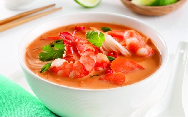 Soupe thaïe aux crevettes et citronnelle