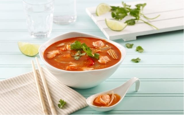 Tom Yum soup with salmon and fennel