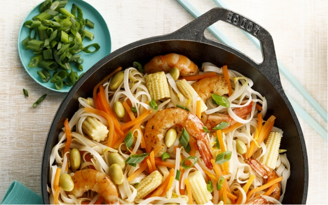Shrimp chop suey, noodles and Asian vegetables