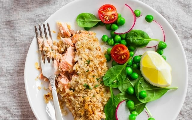 Panko crusted salmon filets