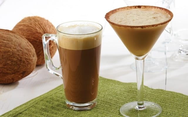Hot or Iced Latte with Sweet Cream of Coconut and Tia Maria