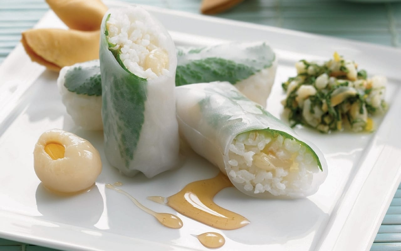 Lychee and Coconut Spring Rolls