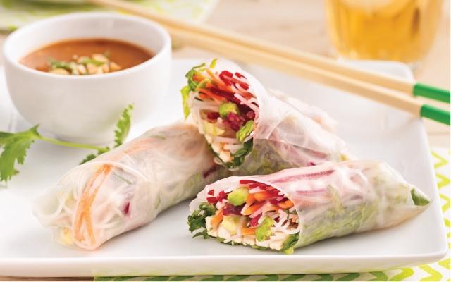 Marinated tofu spring rolls