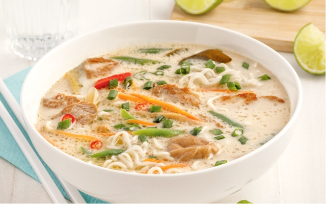 Pork and Ramen Noodles Tom Kha Soup